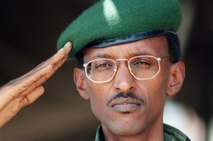 This file picture taken 20 July 1994 in Kigali shows then Rwandan vice-president President Paul Kagame, the Tutsi-led RPF (Rwandan Patriotic Front) commander saluting. Rwanda has filed a complaint with the UN's highest court over a French judge issuing arrest warrants against associates of President Paul Kagame, Rwandan officials told AFP 18 April 2007.  AFP PHOTO / FILES ALEXANDER JOE (Photo credit should read ALEXANDER JOE/AFP/Getty Images)