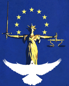 La Dea Giustizia di Londra, la colomba e le dodici stelle dell'Europa. Artista sconosciuto.