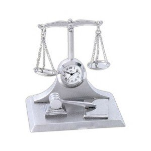 Law_Theme_Mini_Clock_with_Scales_of_Justice