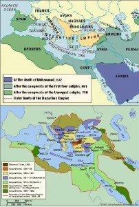 In alto: espansione araba tra il 632 e il 750 dC. In basso: espansione ottomana tra il 1300 e il 1768 dC.