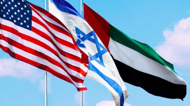 Bandiere di USA, Israele e Palestina